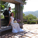 Bride and Groom at the Arbor
